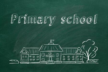 School building  and lettering Primary school on blackboard. Hand drawn sketch.