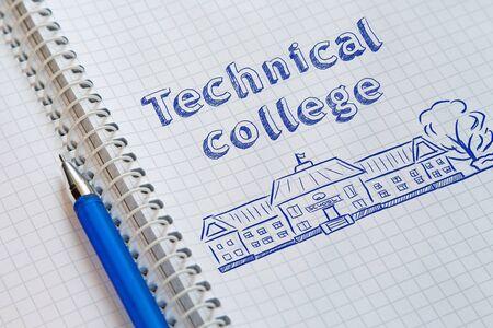 Text Technical college handwritten on sheet of notebook