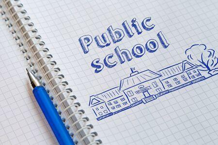 Text Public school handwritten on sheet of notebook Imagens