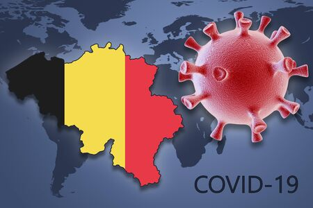 Coronavirus cell and map of Belgium on background of the World map
