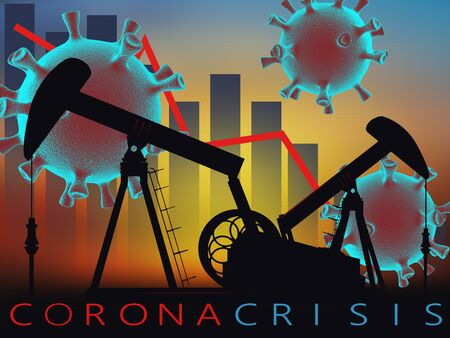 The collapse of the market and the stock exchange due to covid-19 coronavirus. 3D model of virus with oil pumps  and graphs on sunset background.