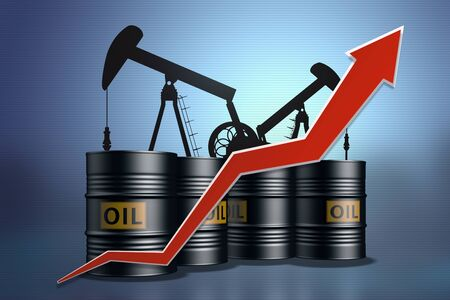 Collage from oil pumps and oil barrels with a red up arrow.Rising oil prices.