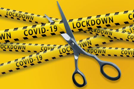 The end of the Covid 19 pandemic. Scissors cut yellow ribbons with text Covid-19 LOCKDOWN