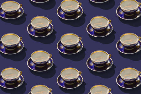 Background from group of old ceramic empty cups for tea or coffee. Flat lay, top view. Diagonal isometric view. Stock Photo