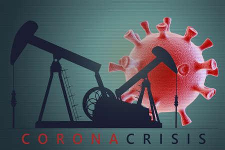 Oil pump with coronavirus cell. Impact of coronavirus covid-19 on oil and gas market.