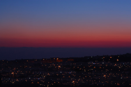 afterglow: Afterglow sunset with city lights