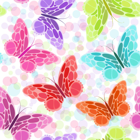Seamless pattern with butterfly. Different colors abstract butterflies background. Great for web page background, surface textures, textile industry, wrapping. Vector