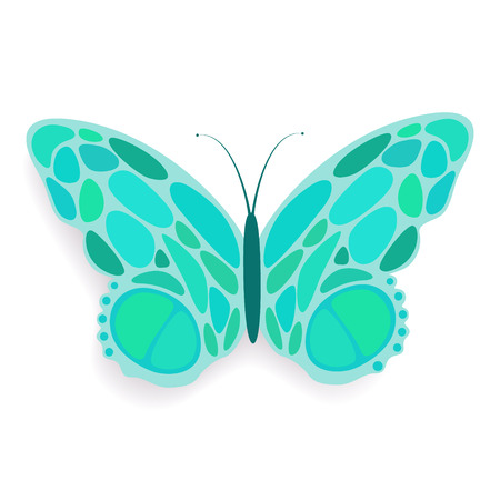 soaring: Butterfly abstract isolated on a white backgrounds Illustration