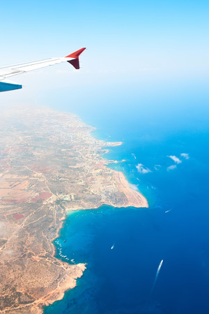 Beautiful view of island Cyprus from the plane. Mediterranean sea, Konnos Bay. Banco de Imagens