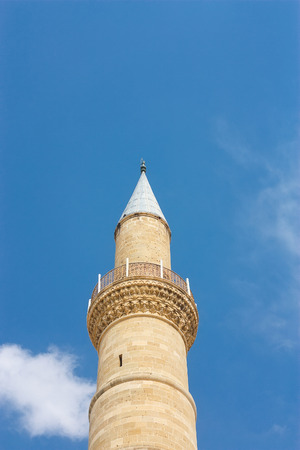 Minaret of famous old Selimiye Mosque in the North Cyprus, Nikosia. (Selimiye Camii) Stock Photo