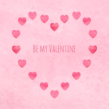 be mine: Heart shape shaped from plenty of hearts. Watercolor hearts. St. Valentines greeting card design. EPS-10 Be my valentine text.