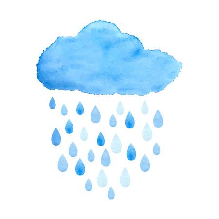 Deszcz (chmura) chmura opadów z kroplami deszczu. Akwarele ilustracji w wektorze.