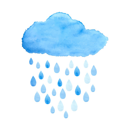 Rain (nimbus) cloud precipitation with rain drops. Watercolor illustration in vector. Çizim