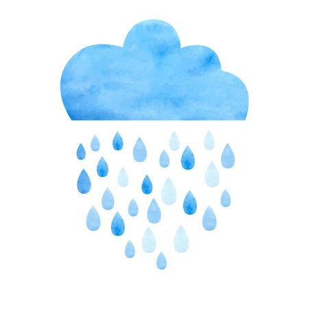 Rain (nimbus) cloud precipitation with rain drops. Watercolor illustration in vector. 向量圖像