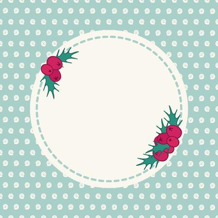 seasonal greeting: Vintage hand drawn seasonal greeting card with holly. Decoration print design with seamless background. Polka dot. Illustration