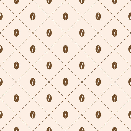 Coffee beans seeds geometric seamless background. Vector illustration.