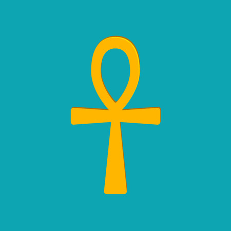 nile: Ankh Hieroglyph, or key of life, key of Nile, Crux Ansata. Ancient Egyptian character. Eternal life symbol. Vector illustration.
