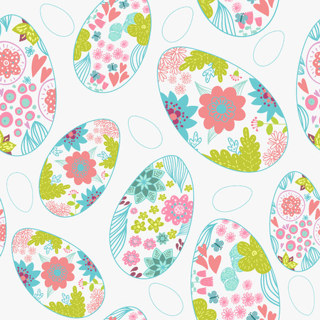 Seamless pattern with easter eggs. Doodle hipster background. Vector