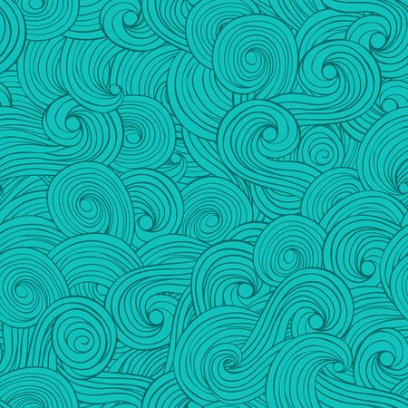 Vector seamless abstract pattern hand drawn background with waves and clouds Vector