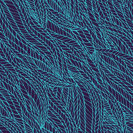 groviglio: Abstract seamless ondulato floreale groviglio di fondo del modello a mano. Viola e lo sfondo blu.