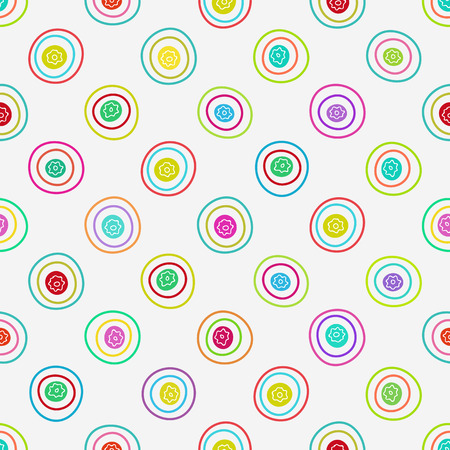 Vector abstract background. Seamless multi color hand drawn circles pattern. Vector