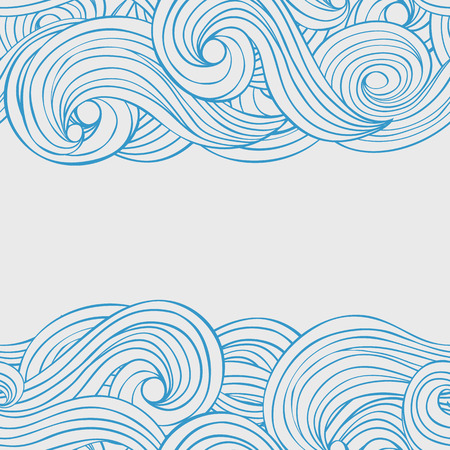 Vector seamless abstract pattern hand drawn background with waves and clouds with a place for your text. Card design. Ilustração