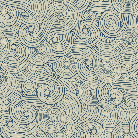 whirpool: Abstract waves background, vintage hand drawn pattern, wavy background, old paper grunge texture. Illustration