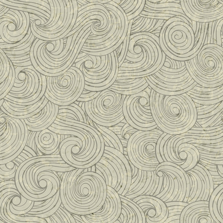 Abstract waves background, vintage hand drawn pattern, wavy background, old paper grunge texture. Illustration