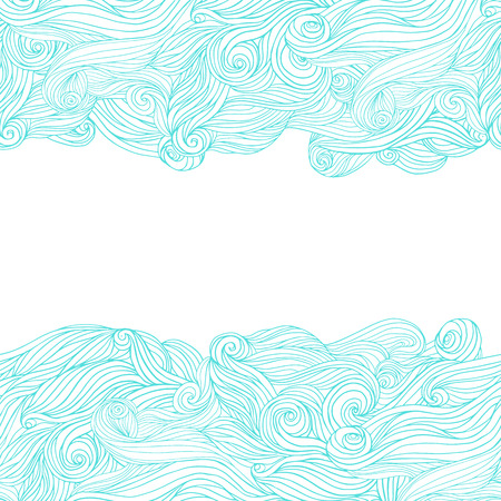 Abstract wavy hand-drawn pattern, waves frame.