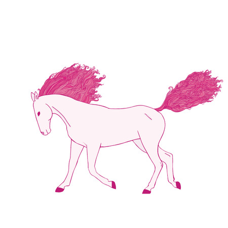 Magic pink horse. Tangle wavy mane and tail. Illustration