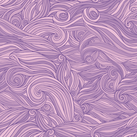 wavy hair: Seamless abstract hand-drawn pattern, tangle wavy hair background
