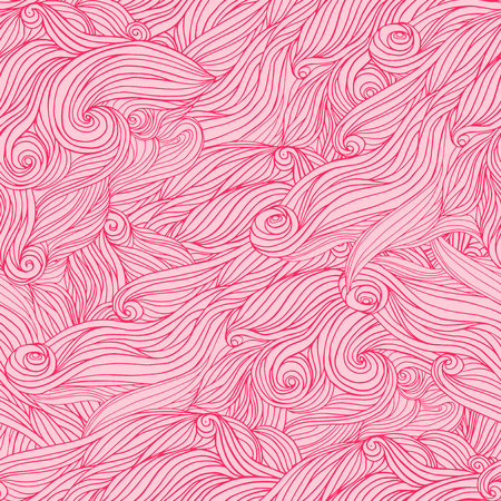 wickerwork: Seamless abstract hand-drawn pattern looks like hair. Pink background.