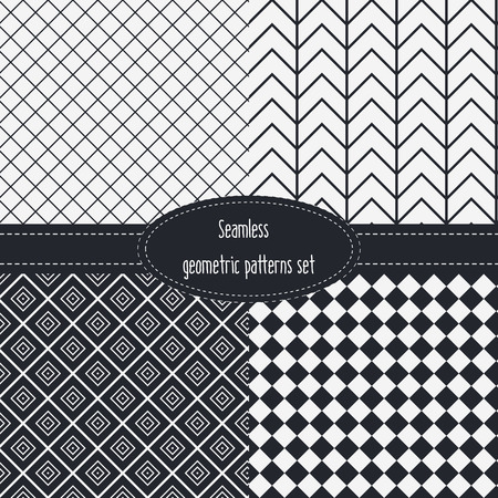 mid century modern: Geometric Seamless Patterns Set. Dark and light grey colors. Black and White. Monochrome backgrounds bundle pack.