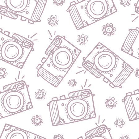 video shooting: Photo cameras seamless pattern. Hand-drawn background. Illustration
