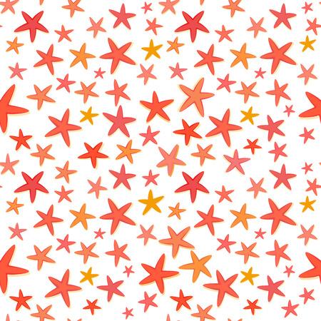 azul turqueza: De fondo sin fisuras estrellas de mar Colorido verano, vector