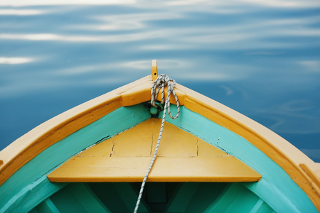 ship bow: View from the bow of a wooden boat. Stock Photo