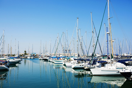 berth: Yachts and boats in old port in Mediterranean sea