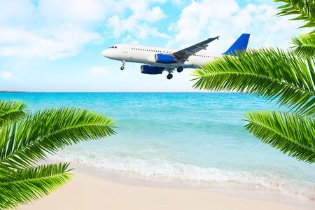 approach: Jet airplane landing over the sea beach. Final approach. Vacation destination.