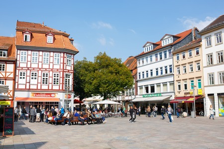 university fountain: Center of the Goettingen Old Town. Main Market Square Known by  Landmark Gaenseliesel fountain. Goettingen is a university town in Lower Saxony, Germany.
