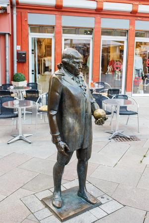 satirist: Georg Christoph Lichtenbergs monument at the marketplace in Goettingen. Georg Christoph Lichtenberg is a famous German scientist, satirist, and Anglophile.