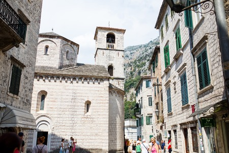 kotor: Kotor, Montenegro - August 10, 2015:  View on old town of Kotor UNESCO twon in Montenegro Editorial