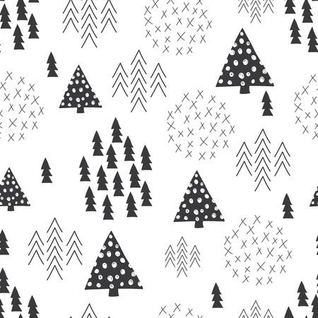 원활한 스칸디나비아 스타일의 간단한 그림 크리스마스 트리 테마 배경