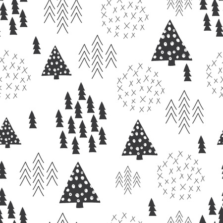 Seamless scandinavian style simple illustration christmas tree theme background