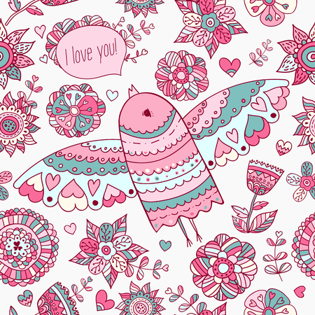 miss you: Floral pattern with bird. Valentines background with text Miss you.
