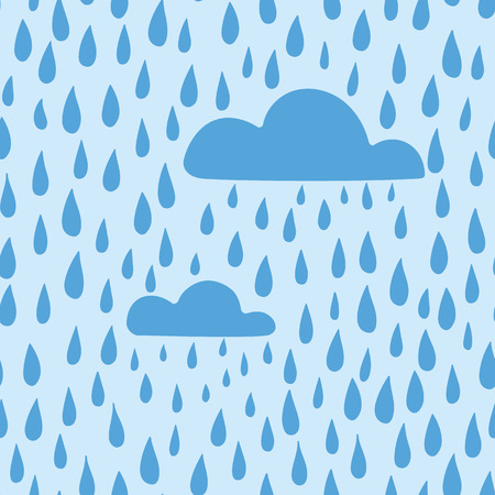 rain background: Vector rain background hand drawn, seamless pattern. Blue clouds and raindrops