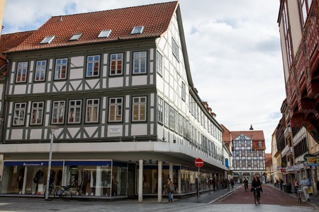 Goettingen, Germany - September 14, 2015: Goettingen Old Town with medieval fachwerk building. Editorial