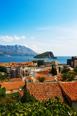 budva: Montenegro, Budva, old town top view with red roofs Stock Photo