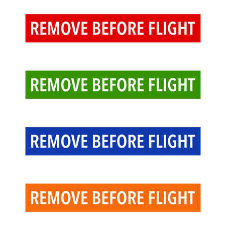 general warning: Multicolour Remove Before Flight Safety Tags on a white background