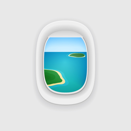 Airplane Window with a View of a Tropical Island Ocean. Vacation Vector Illustration Concept