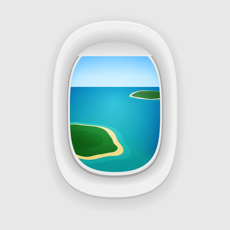 porthole window: Vector aircraft porthole, window with a travel destination: blue sea or ocean and tropical islands.